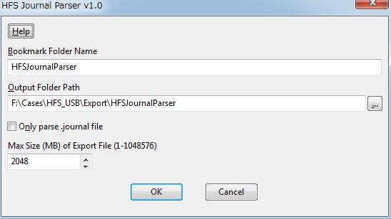 HFS Journal Parser Dialog