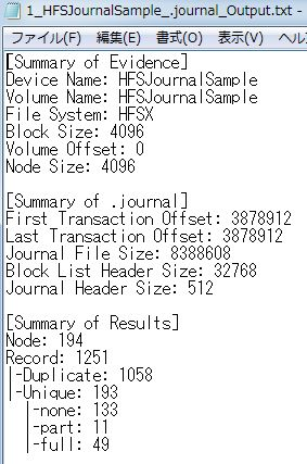 HFS Journal Parser Summary